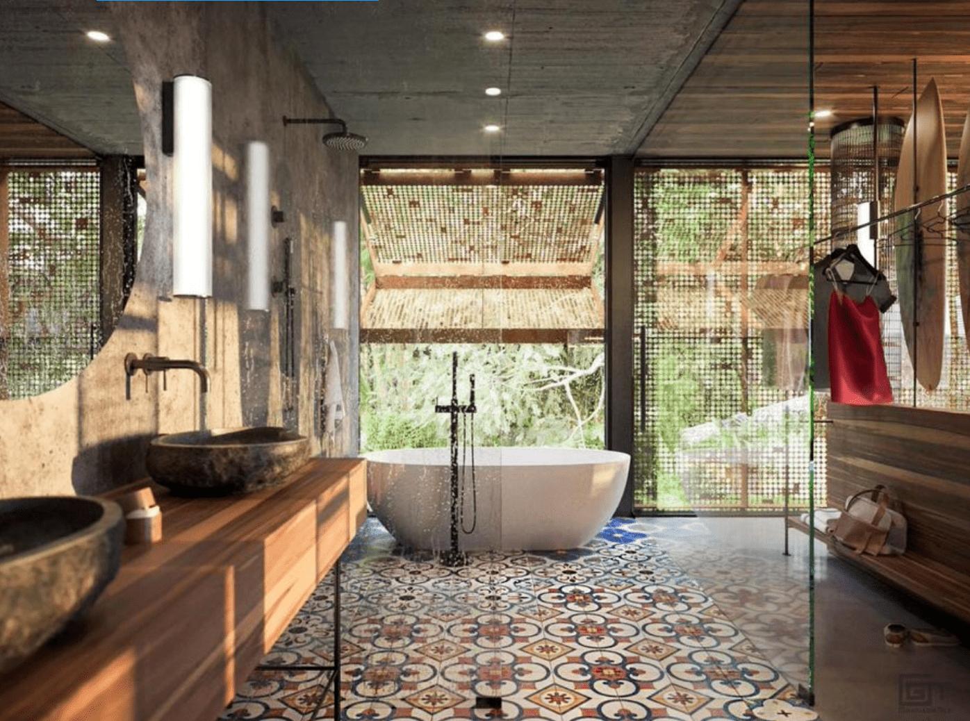 Inspirasi Interior Kamar Mandi Semi Terbuka dengan Konsep Urban Jungle yang Diberi Sentuhan Ubin Klasik